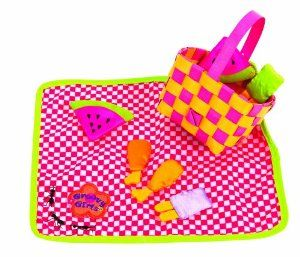 "Manhattan Toy Groovy Style Fresh Air Feast from Manhattan Toy by Manhattan Toy. $13.99. Inspires creative play for your young child. Perfect for a standard sized 13"" Groovy Girl. Bright fun colors make it a groovy place for the girls to hang out in the sun. Even includes the ants. Includes a checkered blankdet, a picnic basket plus goodies. From the Manufacturer                With warm weather coming, your Groovy Girls will want to hang out outside. Share a picnic with..."