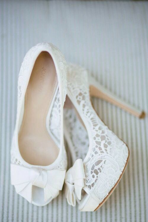 White lace peep toe bridal shoes