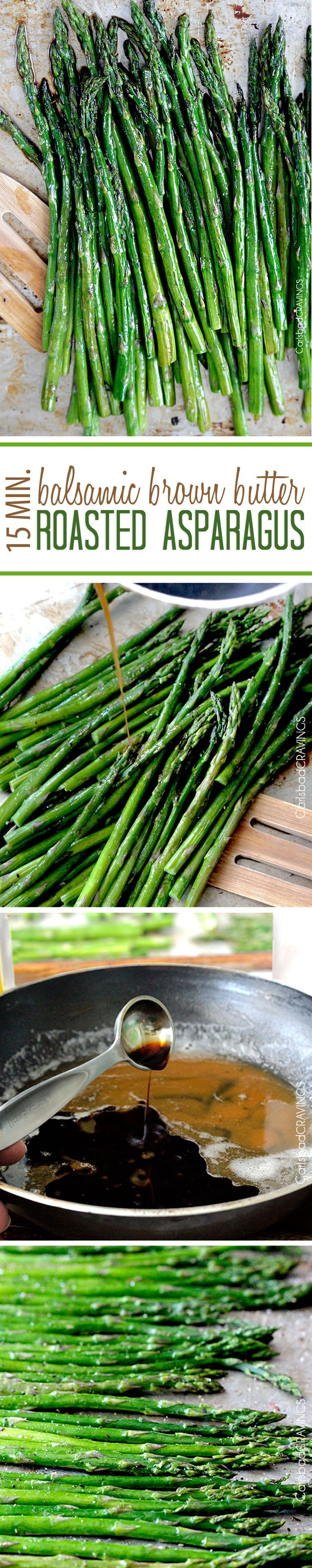 "15 Minute Balsamic Brown Butter Roasted Asparagus. You want this side ""ace"" in your back pocket! quick and easy made from pantry staples but tastes gourmet enough for any company or special occasions (like Mother's Day!)."