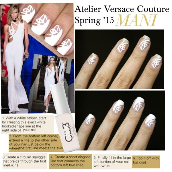 """BEAUTY BAR: Nail Art - Negative Space Nails  """"Atelier Versace Couture Spring '15 Mani"""" by kusja on Polyvore"""