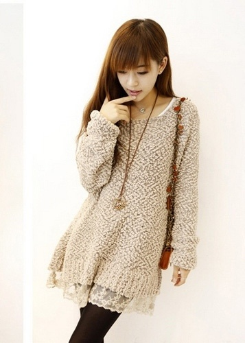 Sweet Lace Hem Long Sleeves Dress