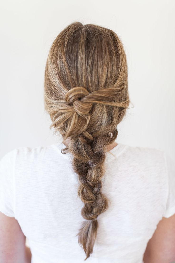 "<div>Another dirty hair, don't care style—try this messy knotted braid. Get the tutorial <a href=""http://www.stylemepretty.com/living/2015/05/25/effortless-braid-inspiration-for-summer/"">here</a>.</div>"
