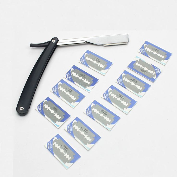 Barber Straight Razor Shaving Pocket Knife Men Shaver Double Edge Blades Fold Knife Barber Rasoir+ 10 Blades