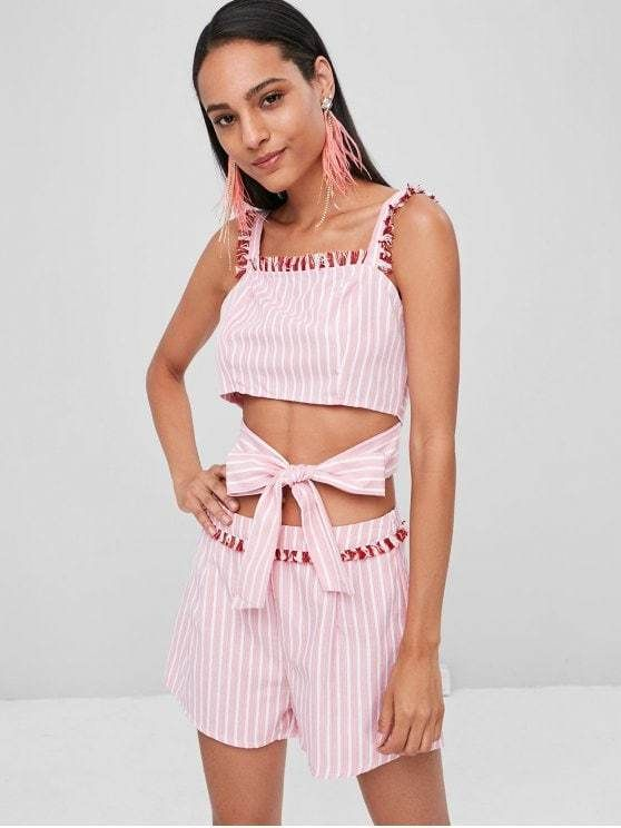 9bc6bdee32b4 Striped Fringed Top Shorts Matching Set in 2019 | Pattern inspo ...