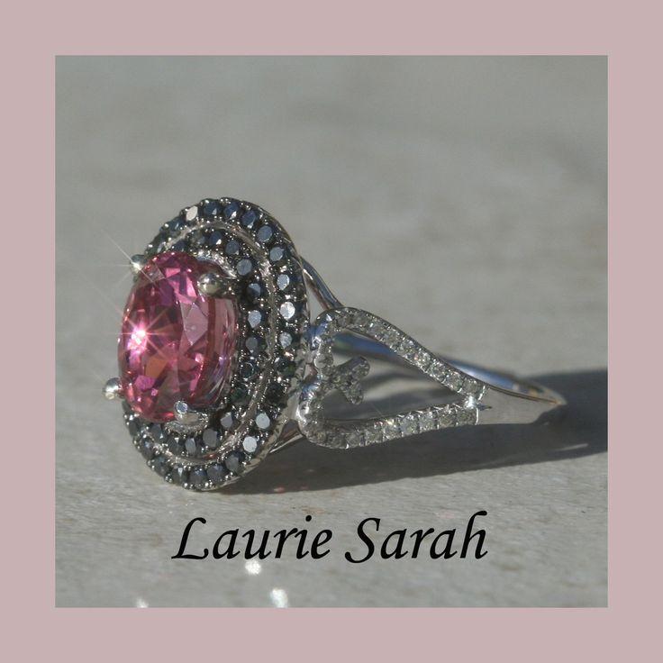 Pink Tourmaline Black Diamond Double Halo Ring with Diamond Heart Shank — LS1369