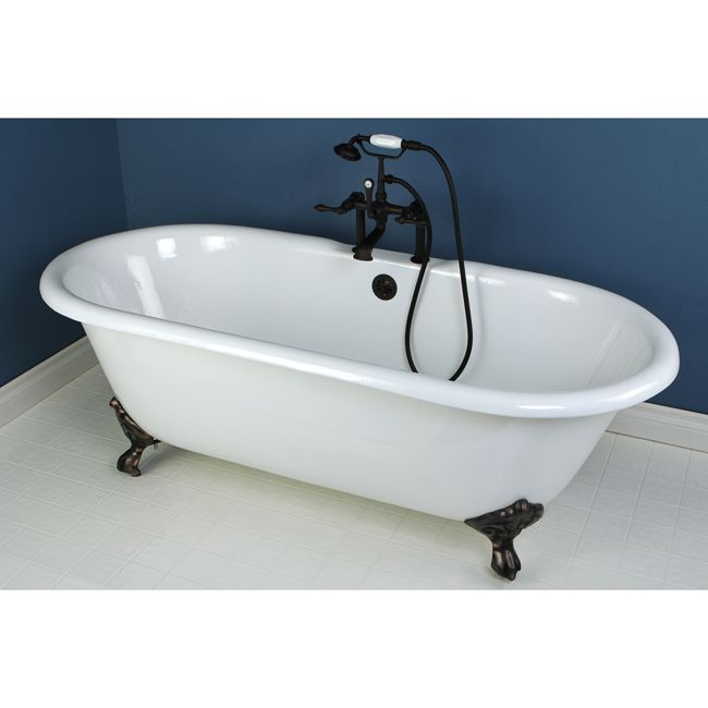 66 Clawfoot Bathtub With Oil Rubbed Bronze Tub Faucet Hardware