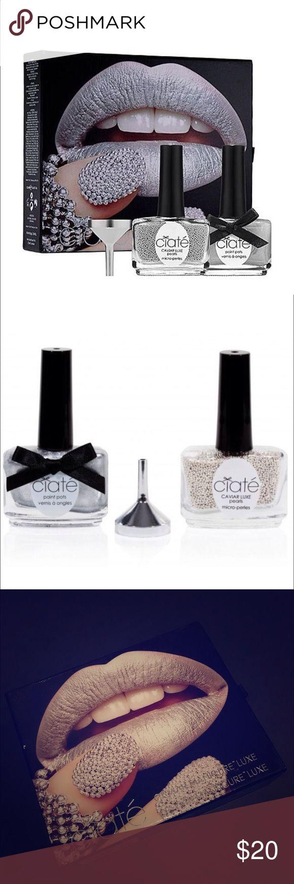 💯AUTH CIATÉ Caviar Manicure Luxe Nail Art Set NIB 💯 Authentic CIATÉ Caviar Manicure Luxe Nail Art Set , brand new in box. Includes: 1 x 13.5 ML CIATÉ Paint Pot / 1 x 65 grams Caviar Luxe Pearls / 1 x Funnel / 1 x Tray . CIATÉ Makeup