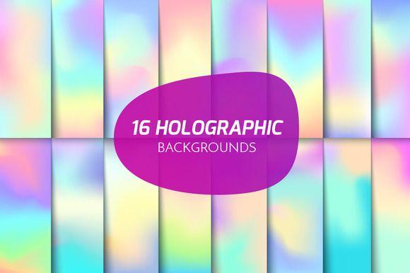 Holographic backgrounds set by ZapolzunArt on @creativemarket