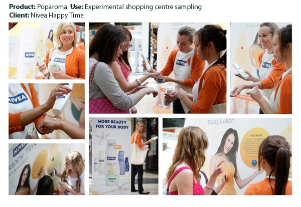 Poparoma integrated into a display promoting Nivea Happy Time Body Lotion. Touring shopping centres, the experiential campaign encouraged people to determine the type of smells they like and to sample the aroma of Nivea Happy Time.