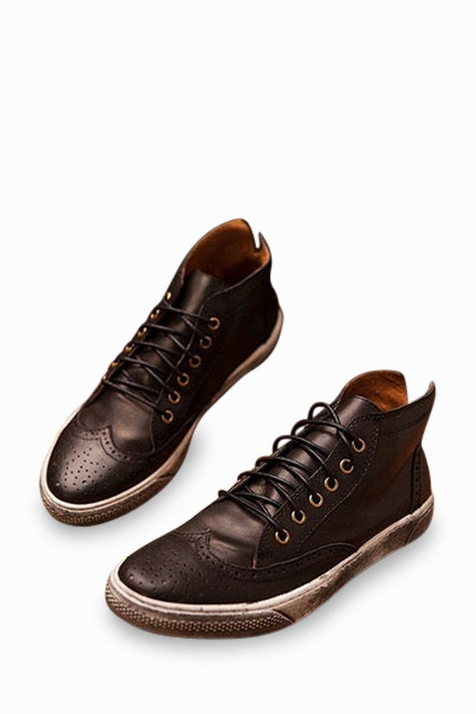 Vintage Brogue Sneakers In Brown. Free 3-7 days expedited shipping to U.S. Free first class word wide shipping. Customer service: help@moooh.net
