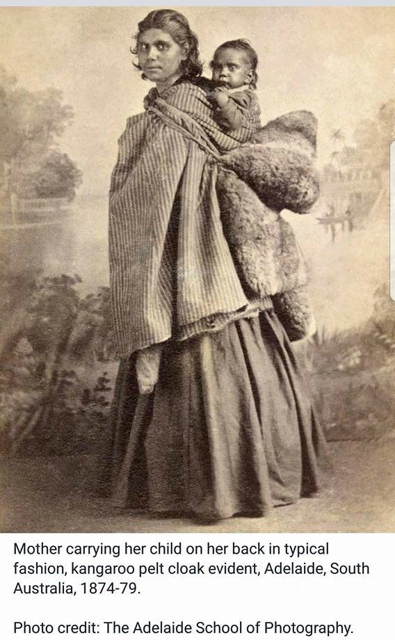 Mother carrying her child on her back, Adelaide, South Australia, 1874-79 |  Antique photos, Indigenous art, Baby wearing