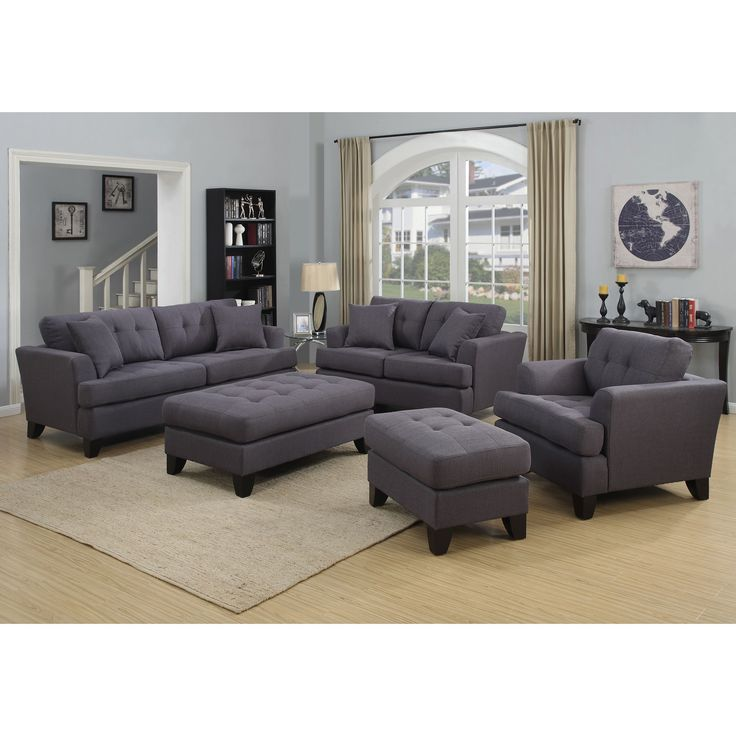 Best Handmade Norwich Charcoal Gray Living Room Set With 4 400 x 300
