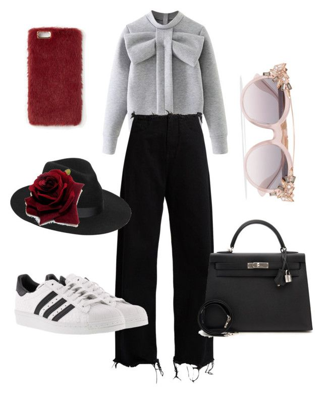 """""""Untitled #175"""" by jessicajessy on Polyvore featuring WithChic, Marques'Almeida, adidas, Hermès, Lack of Color, Jimmy Choo and Missguided"""