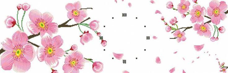 Сакура (часы, триптих) - Цветы, натюрморты с цветами - Схемы вышивки - Иголка