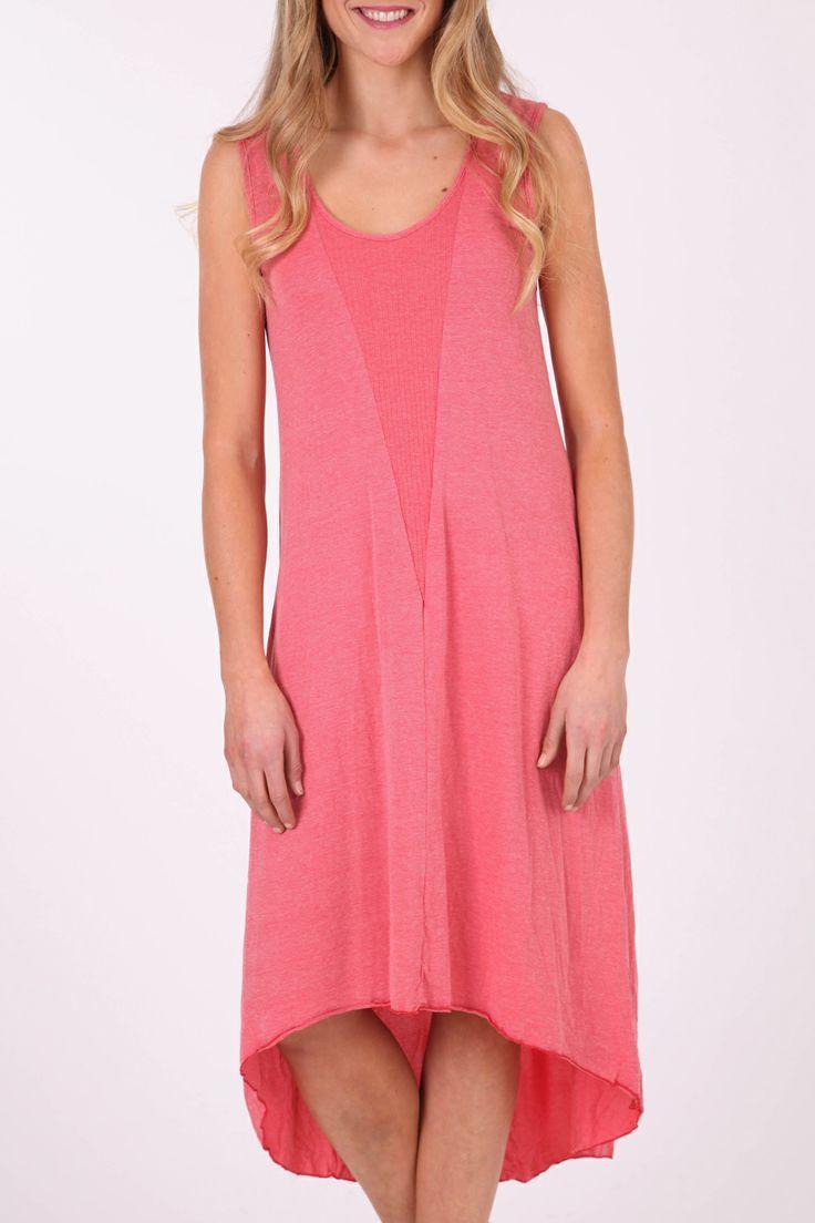 Vigorella Cotton Maxi Dress W Rib Detail - Womens Long Dresses at Birdsnest Online