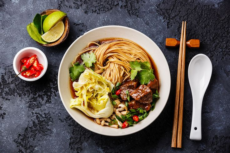Beef and rice noodle ramen recipe. Ramen is a Japanese meal in a bowl. It's surprisingly quick and easy to make and has a refreshing yet earthy flavour. By Shake It Up, Cambridge Weight Plan blog