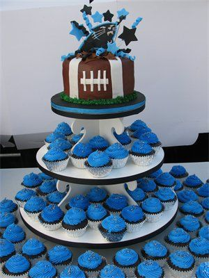 We have a winner inspiration cake. Obviously with the Texans logo on the top and some red, white, and blue stars. The cupcakes will be chocolate with chocolate icing footballs for icing and white stitching.
