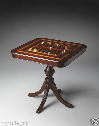 Antique Styled Reversible Pedestal Game Table Chess Backgammon Cherry Maple New | eBay