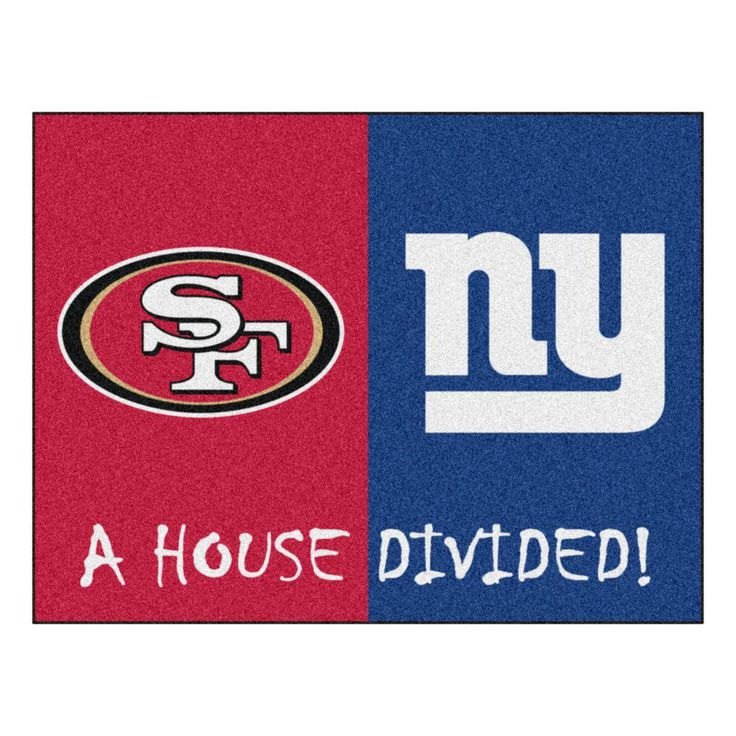 NFL 49ers / Giants Red House Divided 2 ft. 10 in. x 3 ft. 9 in. Accent Rug, Red/Blue