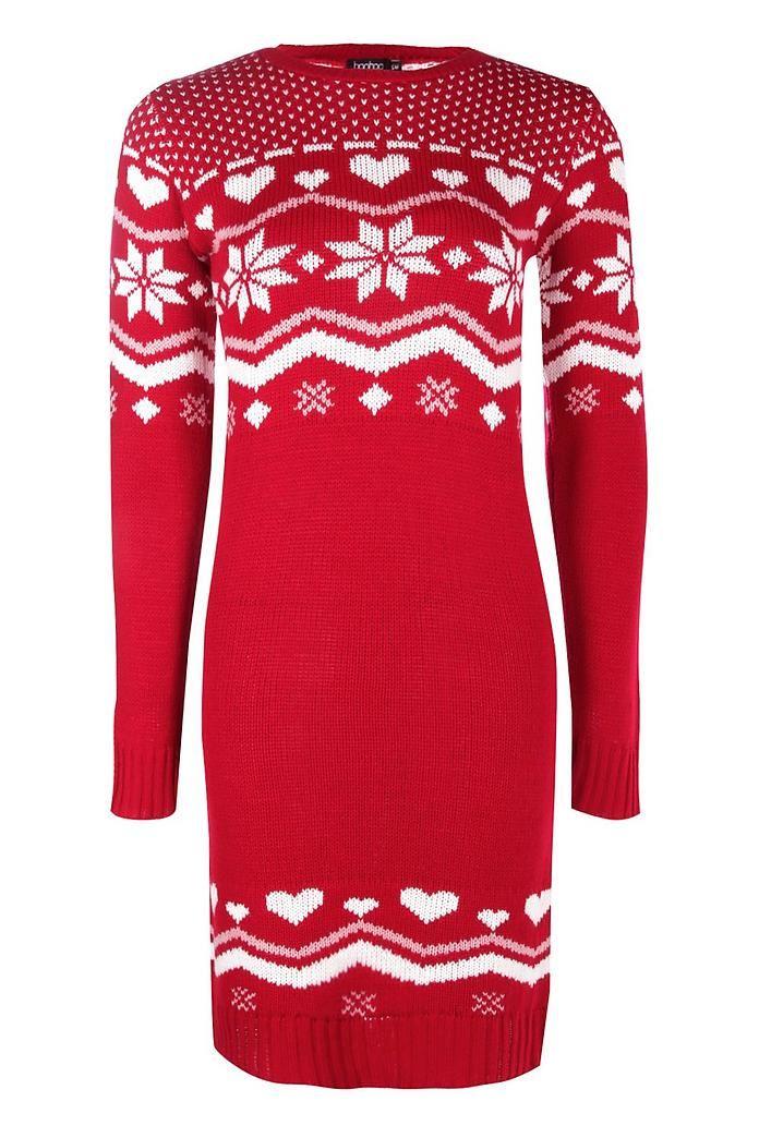 Heart Fairisle Christmas Jumper Dress Boohoo