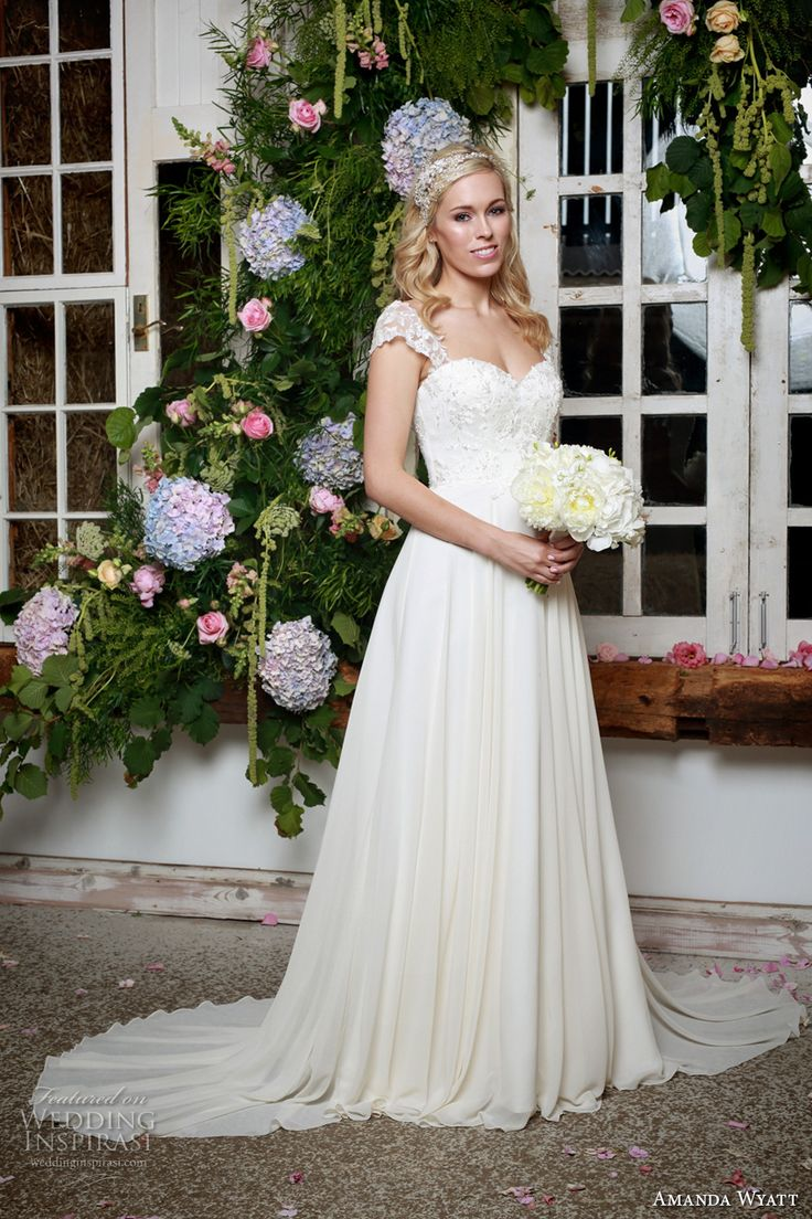 amanda wyatt 2017 bridal cap sleeves sweetheart neckline heavily embellished bodice romantic a  line wedding dress low back with straps sweep train (violette) mv