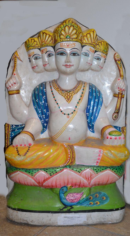 Marble Statue of 5 headed Kartikeya otherwise known as Skanda or Murugan.