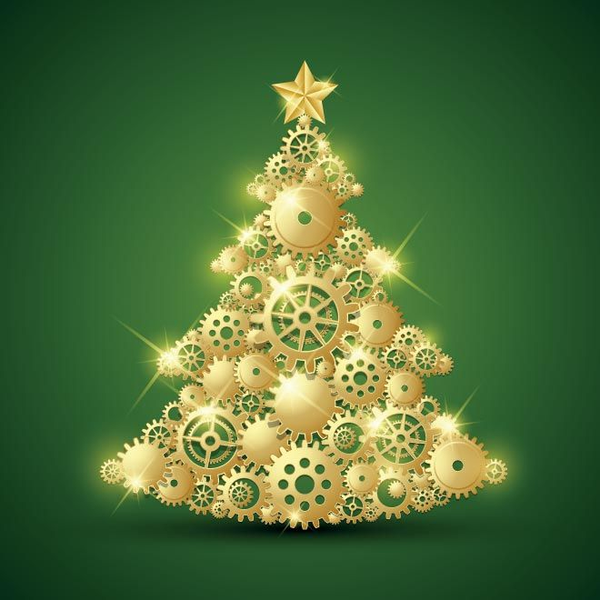 Free Vector Merry Christmas Gold Design Elements Decorated Tree On Green Celebration Background Greeting Card Template