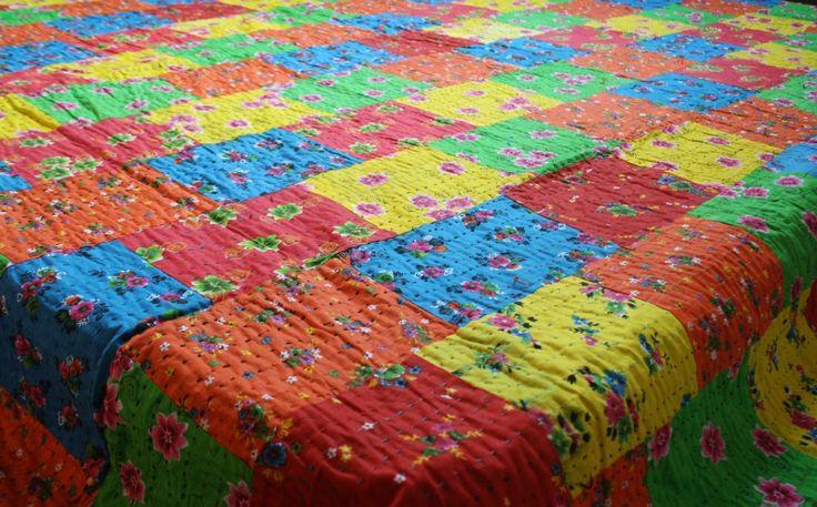 Kantha Patchwork Bettüberwurf. farbenfroh - bunt, 100% Baumwolle, Doppelbett von TheShantiHome auf Etsy