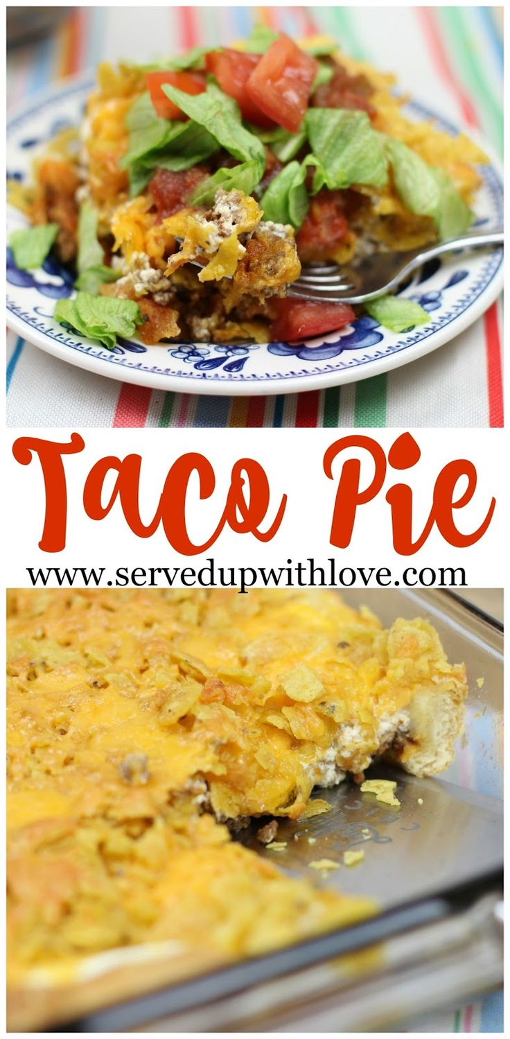 Taco Pie recipe from Served Up With Love. A family favorite taco inspired dish that will have the family running to the table. www.servedupwithlove.com