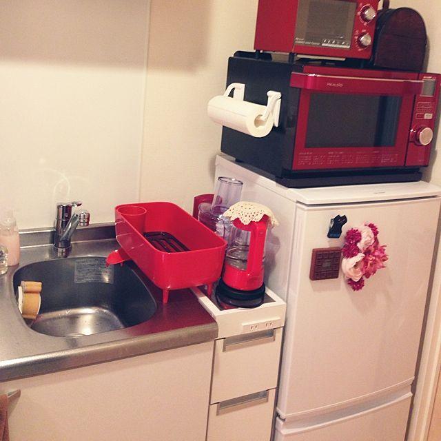 キッチン 一人暮らし 1k キッチンは赤 赤 などのインテリア実例 2015 03 03 19 28 13 Roomclip ルームクリップ 狭いキッチン レイアウト インテリア キッチンレイアウト