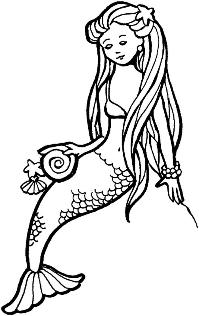 Easy Free Printable Mermaid Coloring Pages For Kids (With ...