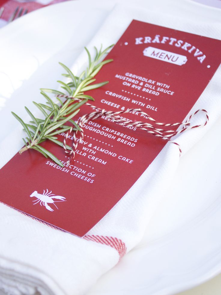 Menu Design for a garden party inspired by the Traditional Swedish Crayfish Party