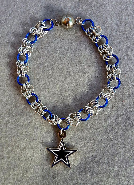 Dallas Cowboys football jewelry chainmail bracelet with