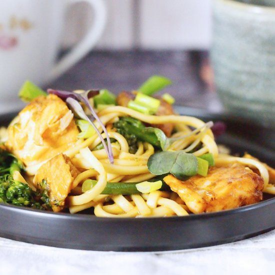 Fast and delicious marinated salmon with noodles and broccolini.(In English and …