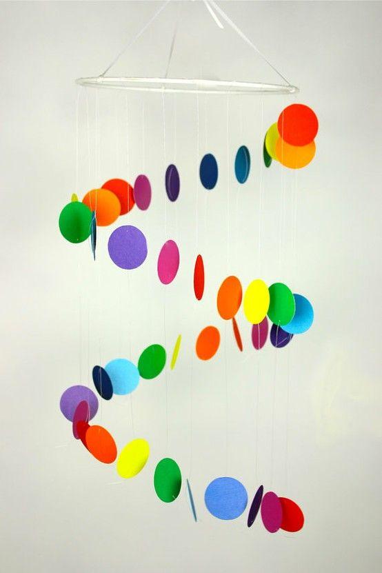 colorful spiral mobile