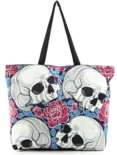 """New Trending Tote Bags: Belsen Womens Fashion Retro Printing Shopping Shoulder Bags Skull. Belsen Women's Fashion Retro Printing Shopping Shoulder Bags Skull  Special Offer: $14.99  277 Reviews 100% Brand New,High Quality . Plus material: Canvas Size: Width: 18 """" Height: 14.5 """" Thickness: 3.15 """" Strap high 8.6 """" Package Included: 1 x..."""