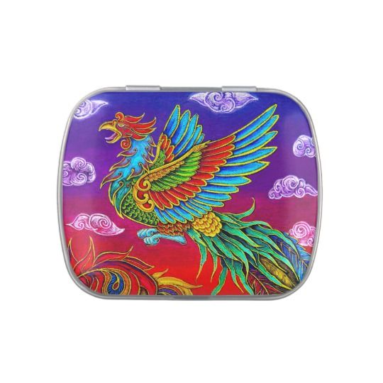Fenghuang Chinese Phoenix Rainbow Bird candy tin by Rebecca Wang on Zazzle. These colorful candy tins make delightful gifts!  They come in siz different sizes and shapes, and have the option to come pre-filled with mints or Jelly Belly jellybeans in 20 different flavors!  These would make great party favors!