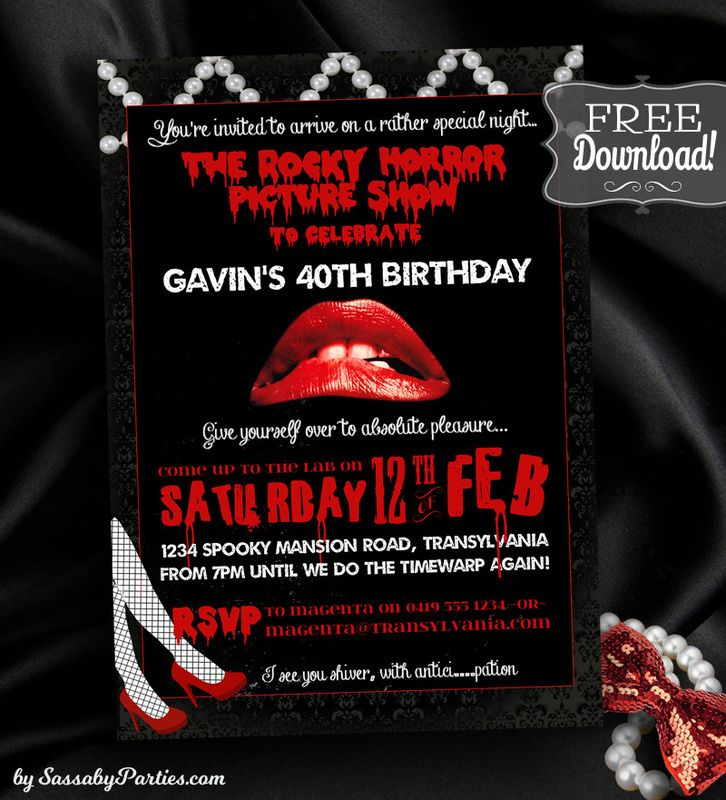 rocky horror picture show birthday party invitation free. Black Bedroom Furniture Sets. Home Design Ideas