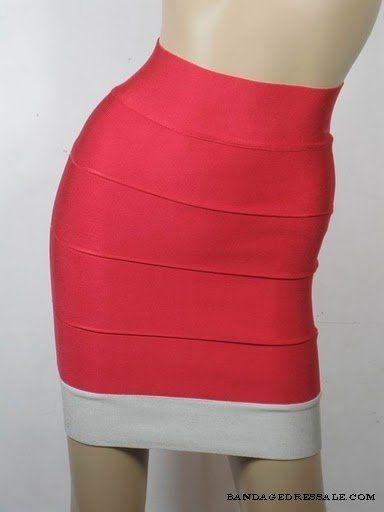 Herve Leger Bandage Skirt Red White
