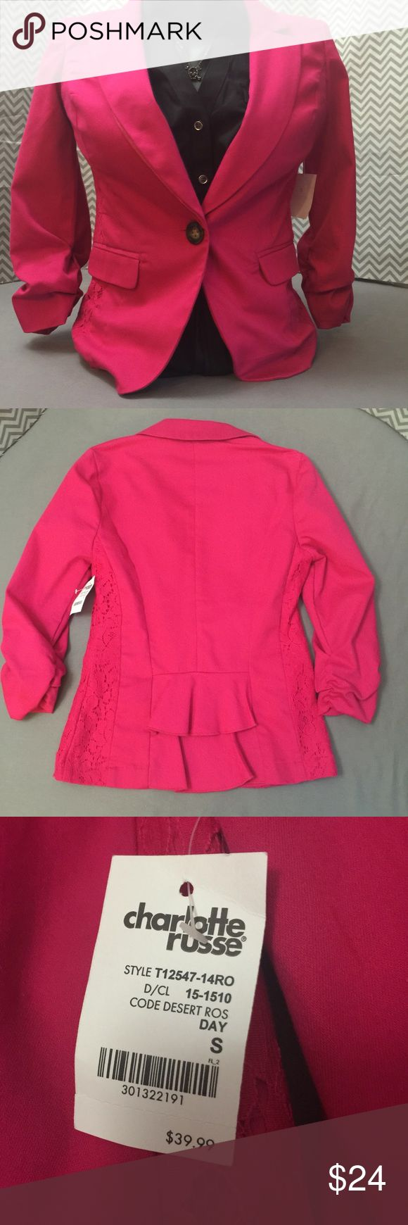 HOT! Blazer by Charlotte Russe, NWT, Size S This thing is seriously hot. The details on this are amazing. Lace paneling on the sides, ruffles on the back, rouched 3/4 length sleeves, just enough spandex to make it move with you without feeling boxy, and in this phenomenal desert rose color that's bright and popping without making you feel like back to the 80s! Please feel free to ask questions, submit an offer, or bundle for added savings. No trades please. Thank you…