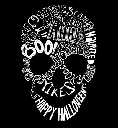 Halloween Typography Phrases Skull Art Print