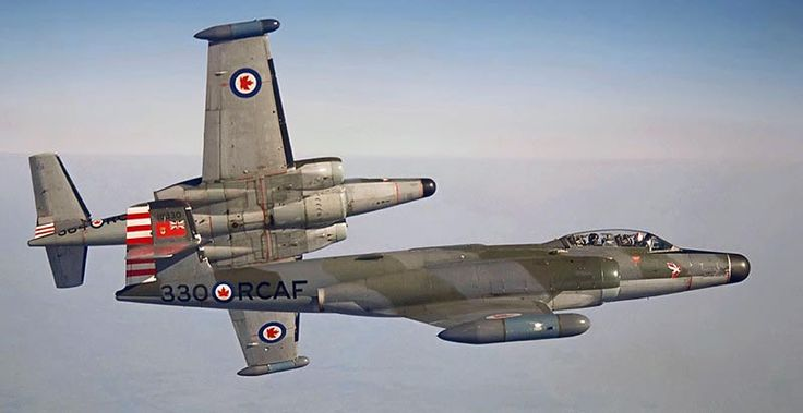 Two Royal Canadian Air Force (RCAF) Mk. 4B CF-100 Canucks of No. 423 Squadron in 1962. Aircraft 18364 with F/O Saunders and F/O Maltais breaks away from #18330 with F/O Stannes and F/L Mack. Photo was taken while the aircraft were participating in training at the Air Weapons (training) Unit in Sardinia. These CF-100s were based at RCAF Station Grostenquin (No. 2 Fighter Wing) France. Front-line CF-100s were used by the RCAF in Europe from 1956 to 1962.