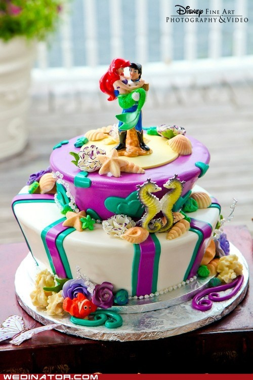 I am pretty certain that Stephen will not go for this but I really could not resist.  Maybe it should have been my cake, since I married Prince Eric?: Disney Wedding, Little Mermaids, Little Mermaid Cakes, Ariel, Weddings, Wedding Cakes, Disney Cake, Birthday Cake