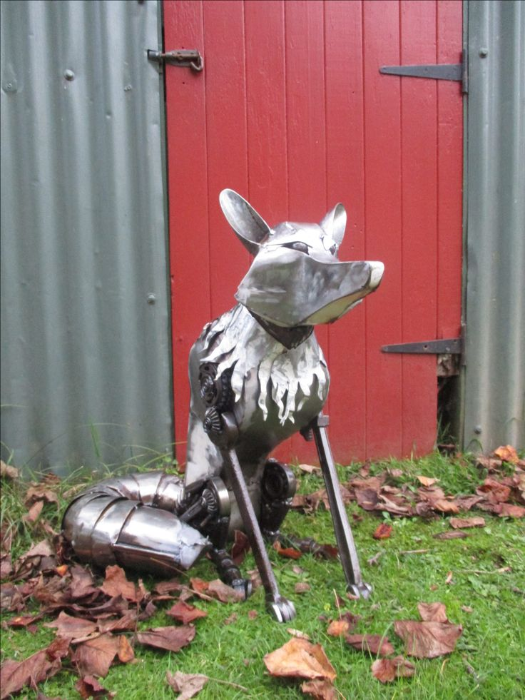 Fox. Recycled steel. Marti Wong sculpture.