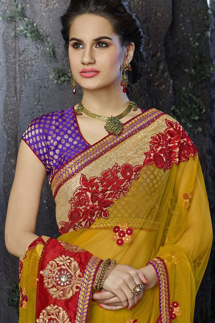 Yellow Net Designer Saree
