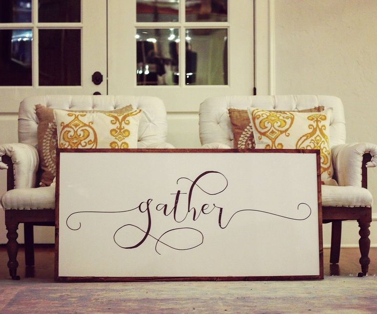 """""""Gather"""" Shown above is the Extra Large Approximately 43"""" x 22"""" Signboard. Please select additional sizes above in drop down box if needed. Printed Board + Stained Wood Frame Please note these boards"""