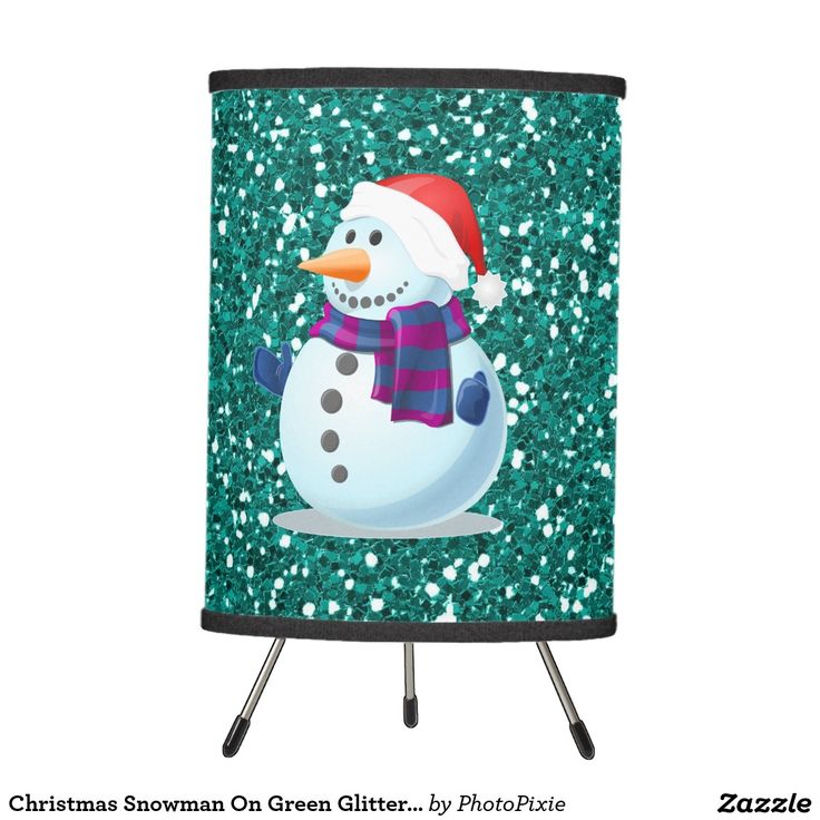 Christmas Snowman On Faux Green Glitter Background