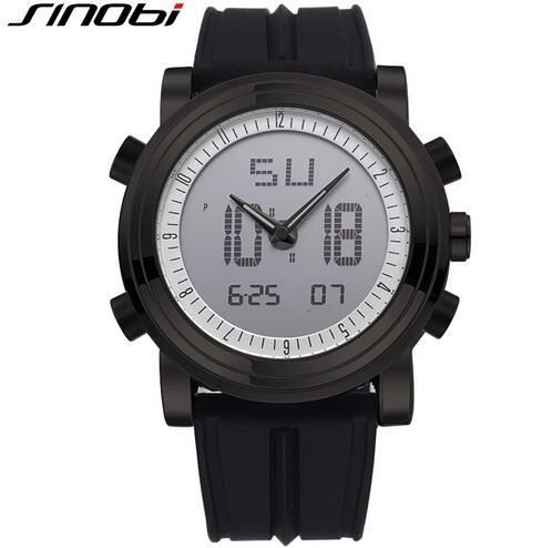 SINOBI Digital Sports Chronograph Men's Wrist Watches Waterproof Rubber Watchband Brand Male Military Geneva Quartz Clock 2017
