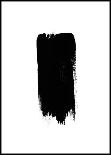 Postern visar hur ett brett, svart penseldrag på en vit bakgrund i sin enkelhet kan skapa vacker konst. Tavlan har en minimalistisk design som tilltalar många o