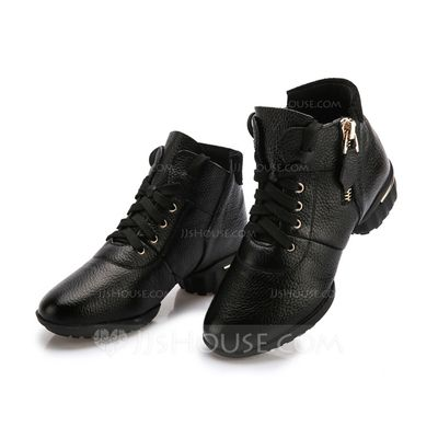 Women's Real Leather Sneakers Practice Dance Shoes (053080763)